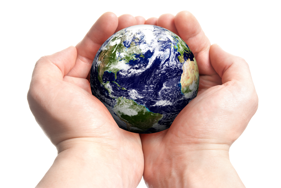 Hands Holding Globe for Environment